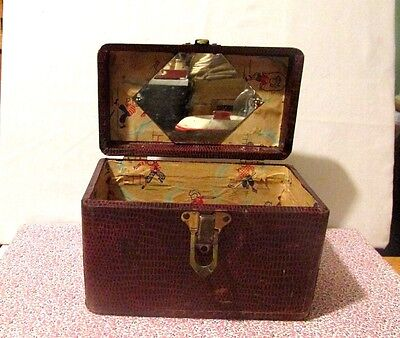 Vintage Wood Faux brown leather case Luggage carry on Child