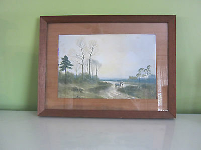 Vintage Antique Art  Cottage Farm Landscape Print Signed JWC Framed Under Glass
