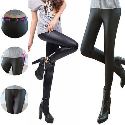 Long Skinny Cool Punk Women Pants Stretchy Faux Leather Leggings Black