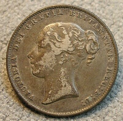 Great Britain Shilling 1865 Die # 30 Second Young Head EF Toned Silver Coin
