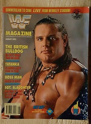 WWF WWE Wrestling Magazine August 1992 The British Bulldog Cover