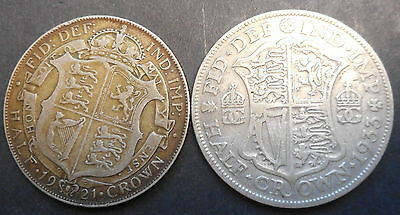 Great Britain 1921 1933 George V Silver Half Crown (2) Different types