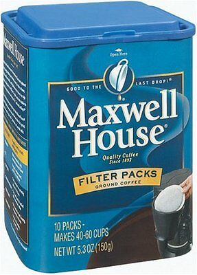 Maxwell House Filter Packs Ground Coffee, 10-Count Canisters