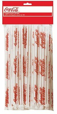 TableCraft Coca-Cola CC327 Wrapped Plastic Drinking Straws, 100-Pack