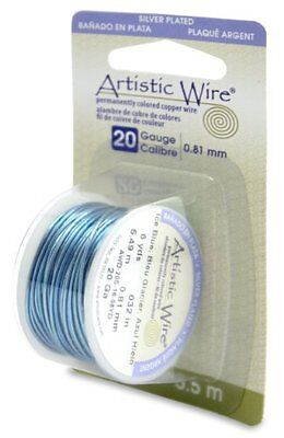 Artistic Wire 20-Gauge Silver Plated Ice Blue Wire, 6-Yards