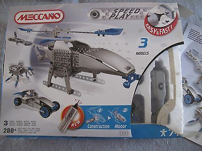 Meccano Speed Play Helicopter Set 7901~3 Models Set~Racing Car + Robot Spider