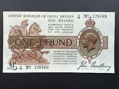 Great Britain Ireland Treasury 1 Pound T16 Issued 1917 Bradbury G/48 728769 EF+