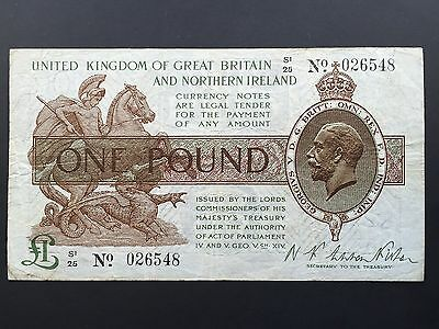 Great Britain Northern Ireland Treasury 1 Pound T35 Warren Fisher S1 First Issue