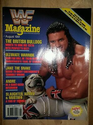 WWF WWE Wrestling Magazine August 1991 British bulldog and warrior Cover