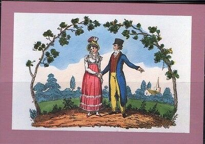 1822 Handcoloured Valentine Card Postal Museum Postcard From Collection A5