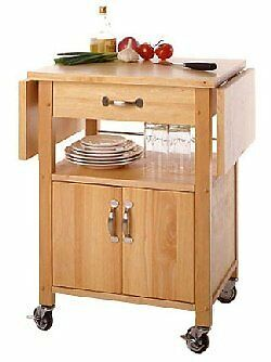 Contemporary Kitchen Microwave Cart with Drop Leaves