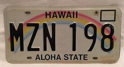 "Hawaii License Plate Rainbow ""MZN 198"" GREAT CONDITION VINTAGE"