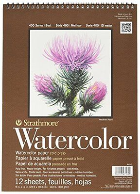 Strathmore 400 Series Cold Press Wire Bound Watercolor Pad 9 x 12 Inches (S