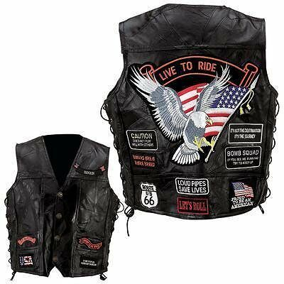 Diamond Plate Rock Design Genuine Buffalo Leather Vest- S