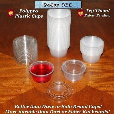 Polar Ice Disposable Plastic Glasses with Lids, 2-Ounce, Tra