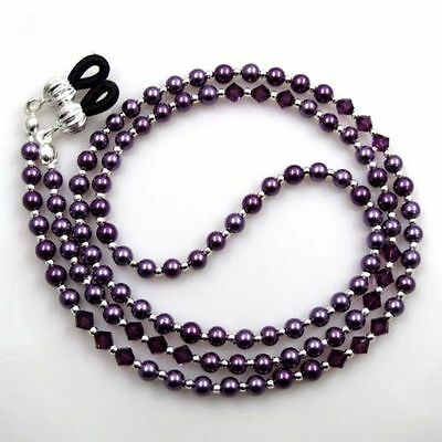 Violet Crystal Pearl Sunglasses Glasses Spectacles Eyeglass Holder Chain Cord