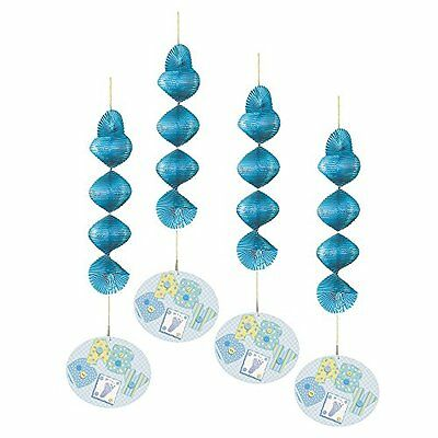 """18"""" Hanging Blue Stitching Baby Shower Decorations, 4ct"""