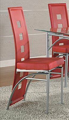 Coaster Set of 2 Dining Chairs Red Leather Like Metal Legs M