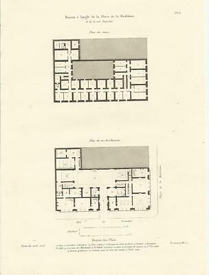 1837 Haus PLACE DE LA MADELEINE Paris 5 Drucke Old Prints Architektur Destouche