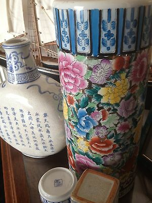 Chinese Cracquel  Porcelain Vase, Calligraphy Script, Famille Floral Style,