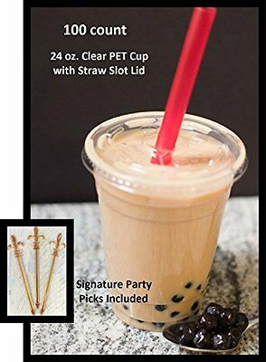 100 Sets 24 Oz Plastic Clear Cups with Flat Lids for Iced Co