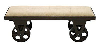 Deco 79 Portable Dressing Bench with Rolling Wheels, Brown