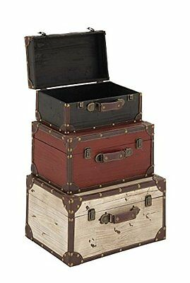 Benzara Wooden and Leather Trunk - Black, Red, White (Set of