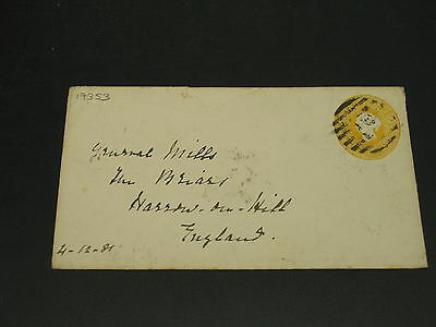India 1881 stationery cover to uk faults *17353