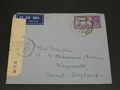 India 1944 censored airmail stationery cover to UK *17363