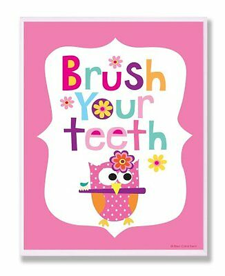The Kids Room by Stupell Brush Your Teeth with Owl on Pink B