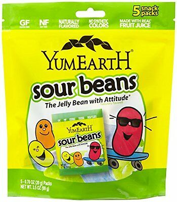 YumEarth Natural Sour Jelly Beans, 5 Count, Net Wt. 3.5 Oz (