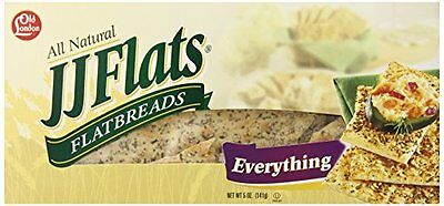JJ Flats Flat Breads, Everything, 5 Ounce (Pack of 12)