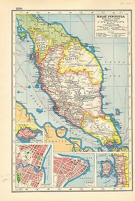 1920 Map World War 1- Malay Peninsula