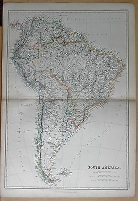 1860  Large Antique Map - South America, Large Map Of Continent