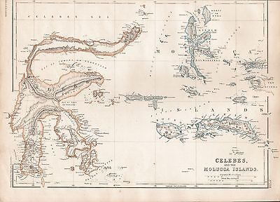 1860  Large Antique Map - Celebes And The Molucca Islands