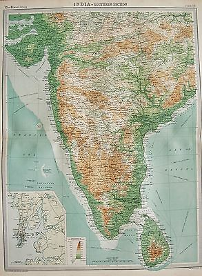 1920  Large  Map : India Southern Section Bombay Sri Lanka