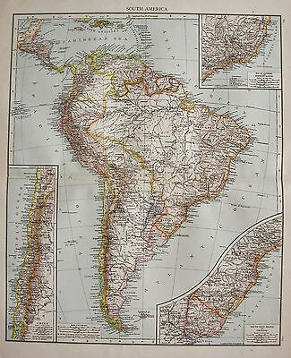 1896  Large Victorian  Map : South America