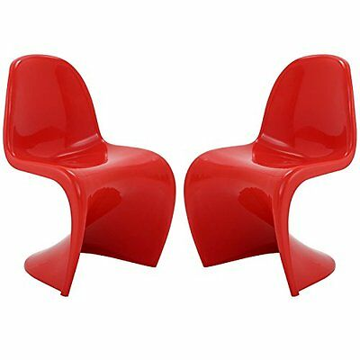LexMod Slither Dining Side Chair Set of 2 in Red