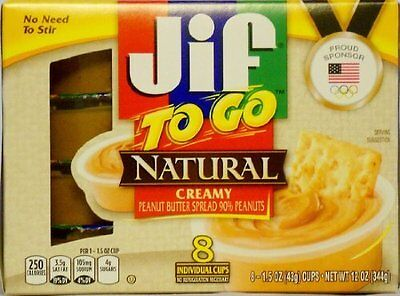 Jif to Go Natural Creamy Peanut Butter 8 individual cups (Pa