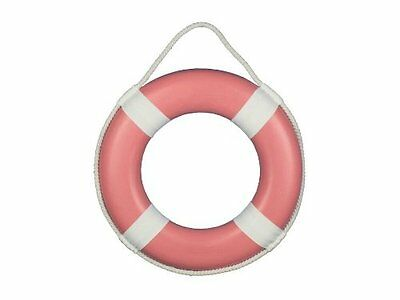 """Handcrafted Nautical Decor Pink Painted Lifering with White Bands, 15"""""""