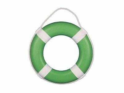 """Handcrafted Nautical Decor Green Painted Lifering with White Bands, 15"""""""