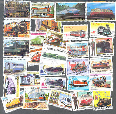 Trains-Railways 100 all different stamps