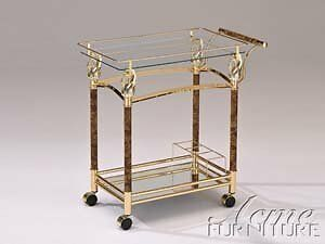 Mace Golden Plated With Clear Tempered Glass Serving Cart by