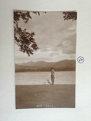 Unkown Lady Walking Her Dog By The Lake Early Postcard 1932