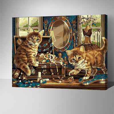 Framed Painting by Number kit Naughty Cats On The Dresser Kitty Pet DIY YZ7582