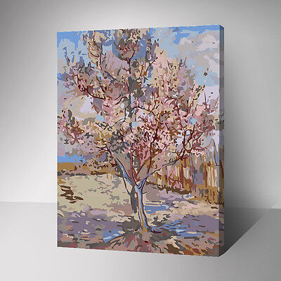 Framed Painting by Number kit One Tall Peach Tree Weald Plant Arbor DIY YZ7554