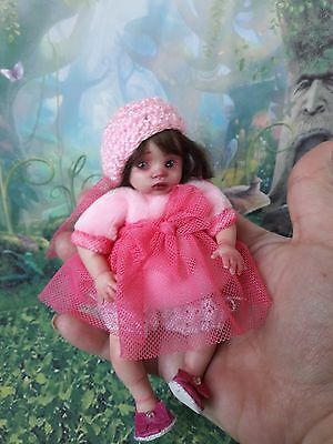OOAK polymer clay art little baby princess doll  5.1' handsculpted by Kovaleva