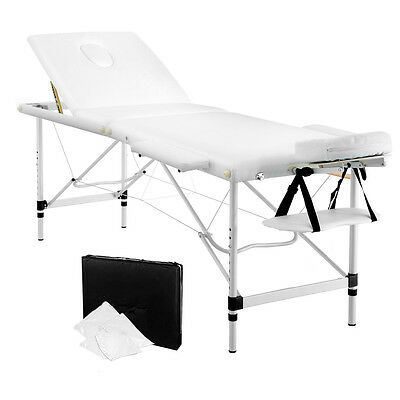 Portable Aluminium Massage Bed Beauty Waxing Table Chair 3 Fold White 60cm