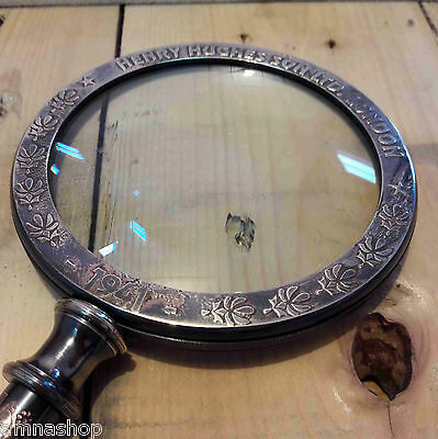 Antique Brass Magnifying Glass Vintage Magnifier Table Top Decorative