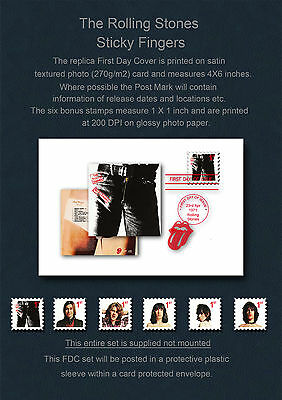 Rolling Stones Sticky Fingers FDC & Replica Stamp Set
